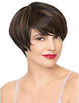 Short Straight Wave Black and Auburn Color Synthetic Wigs for Women