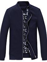 Мужчины На каждый день / Большие размеры Однотонный Куртка Воротник-стойка,Простое Весна / Осень Синий / Красный / Черный Длинный рукав,
