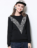 MEIDONGTAI Women's Plus Size / Casual/Daily Simple Fall / Winter T-shirtGeometric Round Neck Long Sleeve Black Polyester / Spandex Medium