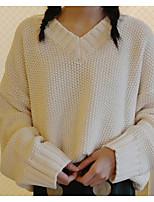 Женский На каждый день Простое Длинный Пуловер Однотонный,Коричневый V-образный вырез Длинный рукав Акрил Осень Средняя Слабоэластичная