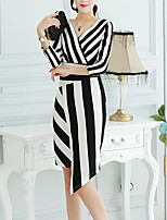 Women's Sophisticated Sheath DressStriped Round Neck Midi  Sleeve Black Cotton