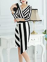 Feminino Bainha Vestido,Happy-Hour / Casual / Férias Simples / Moda de Rua / Sofisticado Listrado Decote Redondo Médio Manga ¾ Preto