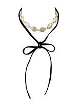 Punk Rock Round Metal Pieces Long Black Chain Choker Necklaces