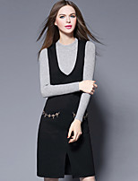 YBKCP Women's Casual/Daily Simple Sweater DressSolid Round Neck Knee-length Long Sleeve Black Cotton Fall Mid Rise Micro-elastic Medium