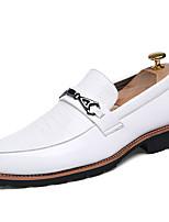 גברים-נעלי אוקספורד-PU-נוחות-שחור לבן-יומיומי-עקב שטוח