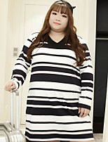 KELIXUAN  Women's Plus Size / Casual/Daily Simple Long HoodiesStriped White V Neck Long Sleeve Cotton / Polyester / Spandex Fall / Winter Medium
