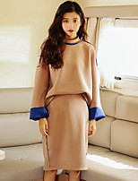 Women's Casual/Daily Simple Fall Set Skirt Suits,Solid Round Neck Long Sleeve Black / Brown Others Medium