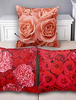 Flower Cotton Linen Throw Pillow Case Home Decorative  Cushion Cover Pillowcase Car Pillow cover(Set of 3)