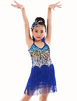 Dança do Ventre Malha Crianças Actuação Poliéster Lantejoulas / Borla(s) 1 Peça Sem Mangas Natural Malha Collant