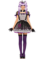 Cosplay Costumes Wizard/Witch / Skeleton/Skull / Vampire Movie Cosplay Purple / Gray Solid Dress / Gloves / Headwear Halloween / Carnival