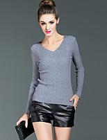 Tee-shirt Femme,Couleur Pleine Sortie / Travail simple Hiver Manches Longues Col en V Noir / Gris Coton / Polyester Opaque / Moyen