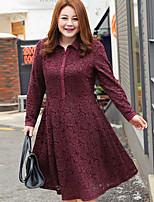Tunique Robe Femme Sortie / Habillées / Grandes Tailles Mignon / Sophistiqué,Couleur Pleine Col en V Midi Manches Longues Rouge / Noir