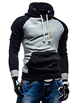 Men's Casual/Daily Active Simple Hoodie Color Block Micro-elastic Cotton Long Sleeve Spring