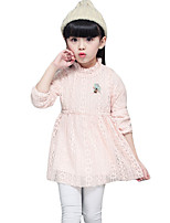 Menina de Vestido Casual Cor Única Primavera / Outono Misto de Lã Manga Longa