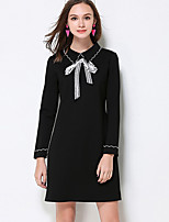 MEIDONGTAI  Women's Plus Size / Casual/Daily Simple Shift DressSolid Shirt Collar Above Knee Long Sleeve Black Cotton / Acrylic / SpandexFall /