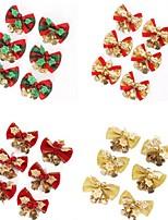 6pcs / set rouges noël mignon arbre arc pendaison décoration noël ornement bowknot cloche métallique noël 5 * 4cm