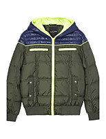 Metersbonwe Men's Short Padded CoatStreet chic Casual/Daily Color Block-Polyester Polypropylene Long Sleeve Green
