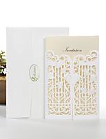 Přizpůsobeno Přehyb s dvojitou bránou Svatební Pozvánky Pozvánky-50 Kusů v sadě Perlový papír