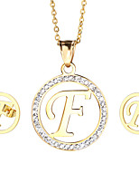 Kalen New Arrival Stainless Steel 18K Gold Plated Capital Letter F Pendant Necklace And Earrings Jewelry Sets For Women
