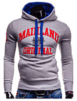 Brand Hight Qualiyt Men's Casual/Daily Simple Regular HoodiesLetter Red / Black Hooded Long Sleeve Polyester Winter / Autumn Thick Micro-elastic