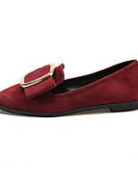 נשים-נעליים ללא שרוכים-PU-נוחות-שחור אדום-יומיומי-עקב שטוח