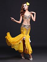 Dança do Ventre Roupa Mulheres Actuação Elastano Fibra de Leite Lantejoulas Frente Dividida 3 Peças Sem Mangas NaturalCinto Saia