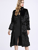 BF-Fur Style Women's Casual/Daily Sophisticated Fur CoatSolid Stand Long Sleeve Winter Black Rex Rabbit Fur