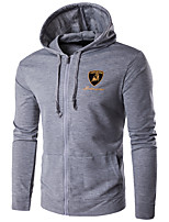 Men's Plus Size / Casual/Daily / Sports Simple / Active Regular Hoodies,Print Blue / Black / Gray Hooded Long Sleeve CottonWinter /