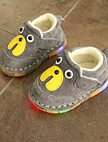 Boy's Flats Winter First Walkers Leather Casual Flat Heel Animal Print Blue / Yellow / Gray Walking
