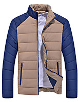 Men's Long Padded Coat,Tops Casual Solid-Cotton Polypropylene Long Sleeve Round Neck Blue / Black