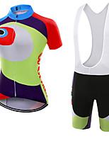 Sportif Maillot et Cuissard à Bretelles de Cyclisme Femme Manches courtes VéloRespirable / Séchage rapide / Résistant à la poussière /