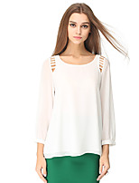 NAKED ZEBRA Women's Casual Street chic Spring BlouseSolid Round Neck Long Sleeve White / Black Polyester