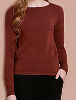 Women's Casual/Daily Simple Regular Cardigan,Solid Red Round Neck Long Sleeve Cotton Fall Thin Inelastic