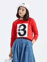 Metersbonwe Women's Casual/Daily Street chic Regular HoodiesLetter Red Round Neck Long Sleeve Cotton Winter Thick Inelastic