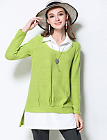 MEIDONGTAI Women's Plus Size / Casual/Daily Simple Fall ShirtPatchwork Shirt Collar Long Sleeve Green Acrylic / Polyester Medium