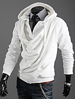 Men's Casual / Casual/Daily Simple / Street chic / Active Regular HoodiesSolid Gray Stand Long Sleeve Polyester Winter / Autumn Medium