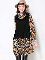 Women's Casual/Daily / Plus Size Boho Fall / Winter Set Skirt Suits,Floral Shirt Collar Long Sleeve Black Polyester / Spandex Thick