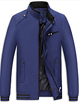 Men's Plus Size / Casual/Daily Simple JacketsSolid Stand Long Sleeve Spring / Fall Blue / Red / Black / Brown Polyester Medium k307