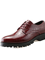 Men's Oxfords Fashion Crocodile Pattern Leather Shoes Comfort Party & Evening Low Heel Lace-up EU38-42