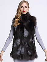 BF-Fur Style Women's Casual/Daily Sophisticated Fur CoatSolid Turtleneck Sleeveless Winter Black Fox Fur