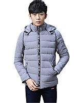 Men's Regular Padded Coat,Simple Casual Solid-Polyester Polypropylene Long Sleeve Stand Blue / Red / White / Black