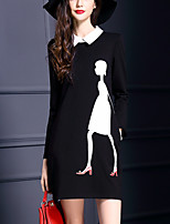 Women's Casual/Daily Simple Sheath Dress,Print Round Neck Maxi Long Sleeve Black Polyester All Seasons Mid Rise Micro-elastic Medium