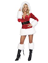Extravagant  Black/White V-Neck Sexy Christmas Costume Women's Santa Miss Dress Santa Claus Costumes Outfit