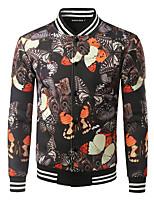 Veste Hommes,Imprimé Décontracté / Quotidien simple Manches Longues Mao Jaune Polyester Epais Hiver