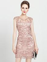 Damen Hülle Kleid-Lässig/Alltäglich / Übergröße Anspruchsvoll Stickerei Rundhalsausschnitt Übers Knie Ärmellos Rosa / Rot / Grau Polyester