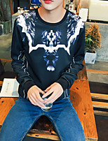 Men's Casual/Daily Simple Sweatshirt Leopard Round Neck Micro-elastic Polyester Long Sleeve