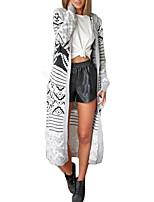 Long Cardigan Femme simple,Géométrique Gris Capuche Manches Longues Polyester Automne / Hiver Epais Elastique