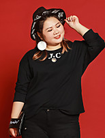 JAZZ   Women's Plus Size / Casual/Daily Simple Fall T-shirtLetter Round Neck  Sleeve Black Polyester / Nylon / Spandex / Others