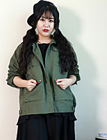 Nininiu Women's Casual/Daily Simple JacketsPrint Stand Long Sleeve Fall / Winter Green Polyester Medium