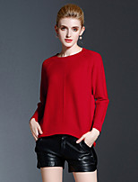 Women's Casual/Daily Simple Regular Pullover,Solid Red Round Neck Long Sleeve Polyester Fall Winter Medium Stretchy